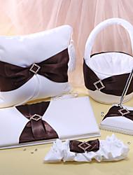 coleção do casamento definir em cetim branco com marrom faixa (5 peças)