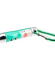 Mini 3-en-1 laser rouge + UV + blanc LED lampe de poche avec mousqueton (3xLR44, couleurs assorties)