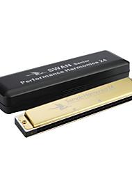 Swan - (SW24H-4) 24 Buraco Harmonica Tremolo sênior com caixa de plástico (Impressão a laser-Golden Finish)