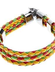 z&X® três cores tecer cruz pulseira de couro galloon