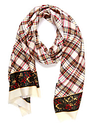 Minimalist 100% Mulberry  Cream-Coloured Plaid Scarf