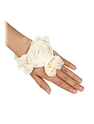 Women's Cotton Fingerless Wrist Length Fashion/Party Gloves With Pearls