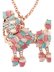 Women's Long Golden Stainless Steel Chain Necklace with Rhinestone and Colored Cat's Eyes Dog Pendant