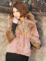 Mangas 3/4 Raccoon Fur Xaile gola de pele do falso Casual / Escritório Jacket (mais cores)