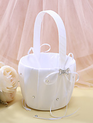 Flower Girl Basket In White Satin With Rhinestones