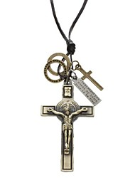 Z&X®  Crucifix Pattern Cow Leather Necklace