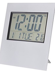 "6"" LCD Desktop/Wall-Mounted Digital Alarm Clock Calendar Thermometer Timer (2xAA)"