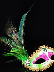 Pfau-Feder und Eye Shadow Grün PVC Urlaub Halbmaske