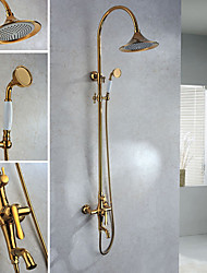 Shower Faucet Contemporary Handshower Included / Rain Shower Brass Ti-PVD
