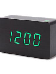 cuboïdes bois de style thermomètre numérique réveil (noir, usb/4xaaa)