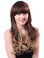 Capless Long Brown Curly Full Bang Heat-resistant Fiber Wigs