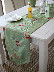 Classic Embroidery Green Floral Table Runners