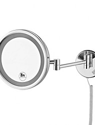 8.5-inch Chrome Finish Wall Mount Cosmetic Mirror with Light