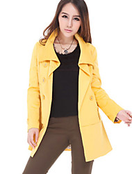 JSO Casual Yellow Slim Trench Coat