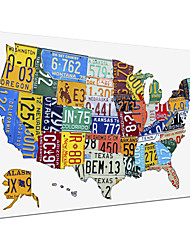 Stretched Canvas Art Words & Quotes License Plate Map USA by Design Turnpike Ready to Hang