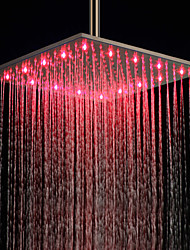 16 pulgadas de acero inoxidable cabezal de ducha con luz LED que cambia de color