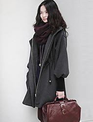 PRENAIR Casual Reúna capuz casaco de tweed