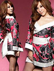 Sweet Girl Black and Red Floral Polyester Kimono Costume(3 Pieces)