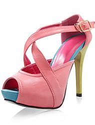 similicuir supérieure spartiates chaussures à talons aiguilles de plusieurs couleurs