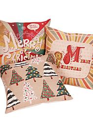 Set of 3 Merry Christmas Cotton/Linen Decorative Pillow Cover