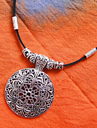 Cuero Gargantilla de plata tibetana (Longitud: 40 cm)