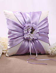 Lilas Satin Floral Design Wedding Ring Pillow