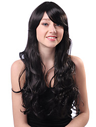 Capless Long Black Curly High Quality Synthetic Japanese Kanekalon Wigs