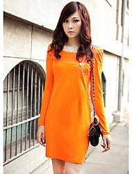 ZHI YUAN PU Shoulder épissage Leather Sleeve Robe Longue (plus de couleurs)