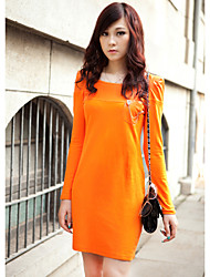 ZHI YUAN Shoulder PU Leather Splicing Long Sleeve Dress(More Colors)