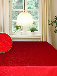 Jacquard Abstract Leaves Rectangular Polyester Red Table Cloth