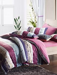 Morden Purple Stripe With Flower Flannel Full / Queen / King 4-Piece Duvet Cover Set