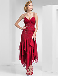 Formal Evening / Military Ball Dress - Burgundy Plus Sizes / Petite Sheath/Column Spaghetti Straps Tea-length Chiffon