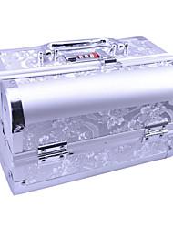Алюминиевый сплав двухэтажные замком Профессиональный 24 * 15.5 * 15.5cm Косметические Box