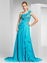 A-Line Princess One Shoulder Court Train Chiffon Evening Dress with Beading by TS Couture®
