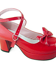 Sapatos Doce Confeccionada à Mão Salto Alto Sapatos Cor Única 8 CM Vermelho Para Feminino Couro PU/Couro de Poliuretano