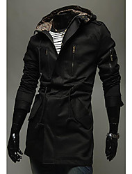 Men's Slim Hooded Pea Coat
