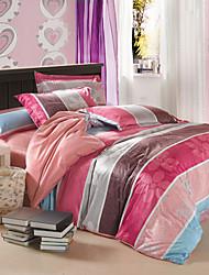 Modern Multicolor Stripe Velvet Full 4-Piece Duvet Cover Set