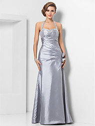 TS Couture® Formal Evening / Military Ball Dress - Silver Plus Sizes / Petite Sheath/Column Halter / Sweetheart Floor-length Taffeta