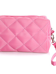 Diamond check Pattern Portable Cosmetic Makeup Pouch Hand Carrying Case Bag