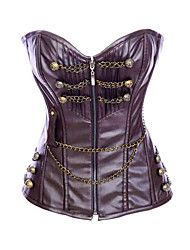 Fashion Faux Leather Strapless Front Zipper Closure Corsets Shapewear Sexy Lingerie Shaper