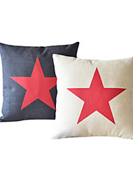 Set of 2 Country Star Cotton/Linen Decorative Pillow Cover