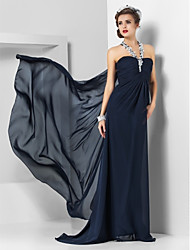 Sheath / Column Halter Sweep / Brush Train Chiffon Evening Dress by TS Couture®
