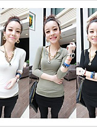 HOT LADY V Neck Solid Color Slim T-Shirt