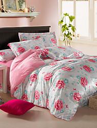 Modern Grace Rose Velvet Full 4-Piece Duvet Cover Set