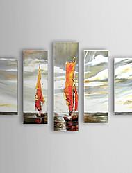 Hand-painted Oil Painting Landscape Vessel Set of 5 1302-LS0223