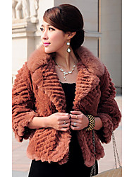 3/4 Sleeve Fox Fur Turndown Collar Rex Rabbit Fur Casual/Party Jacket (More Colors)