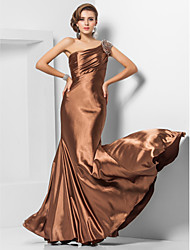 Formal Evening/Military Ball Dress - Brown Plus Sizes Trumpet/Mermaid One Shoulder Floor-length Stretch Satin