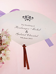 Personalized Pearl Paper Hand Fan - Rose (Set of 12)