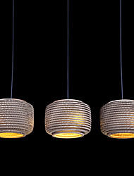 25W Traditional Pendant Light with 3 Lights and Drum Paper Shade