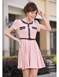 Women's Casual/Daily A Line / Skater Dress,Solid Round Neck